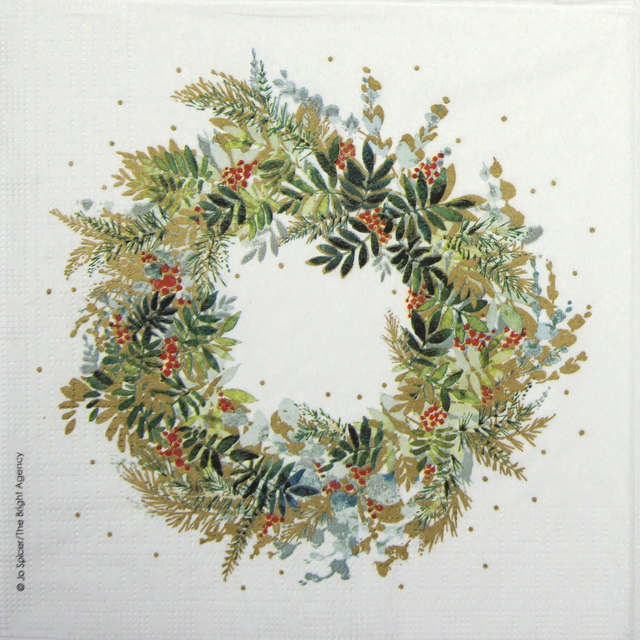 Lunch Napkins (20) - Jo Spicer: Christmas Hill Wreath
