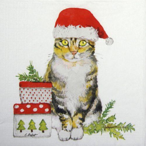 Paper Napkin - Carola Pabst: Christmas Kitty