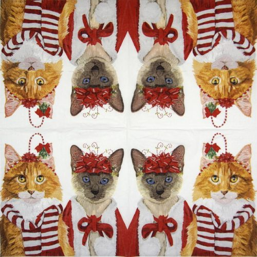 Cocktail Napkin - Two Can Art: Festive Felines