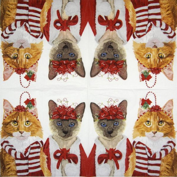 Cocktail Napkin - Two Can Art: Festive Felines
