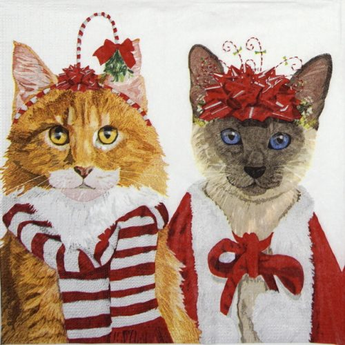 Cocktail Napkins (20) - Two Can Art: Festive Felines