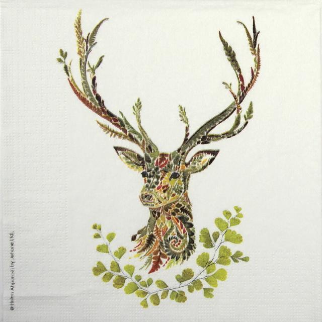 Lunch Napkins (20) - Helen Ahpornsiri: Green Deer