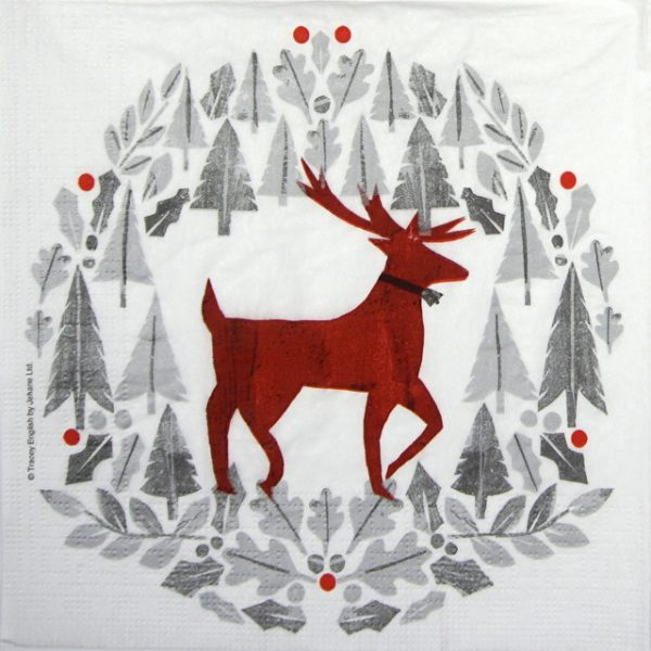 Paper Napkin - Tracey English: Silver Deer