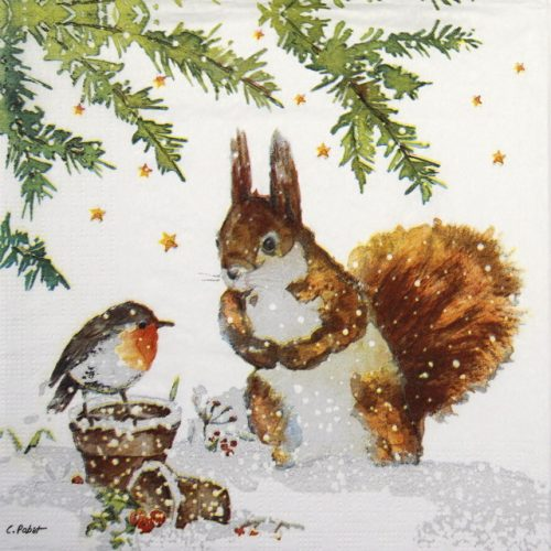 Lunch Napkins (20) - Carola Pabst: Squirrel & Robin