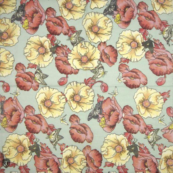 Paper Napkin - Butterflies on flowers
