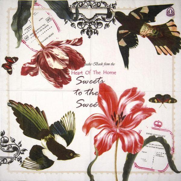 Paper Napkin - Tulip and Birds
