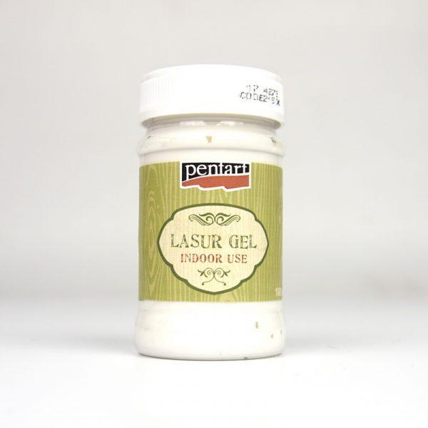 Pentart indoor use lasur / wood stain gel white 100ml