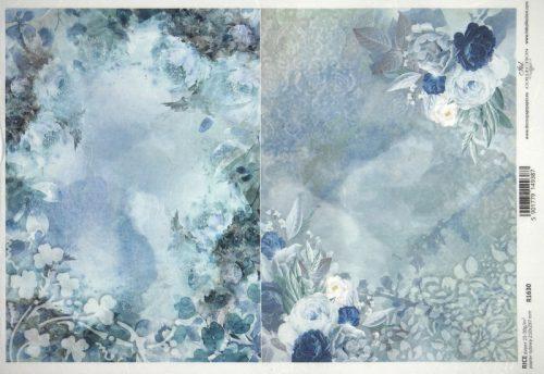 Rice Paper - Blue Floral Composition