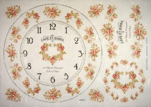 Rice Paper -  Roses Clock