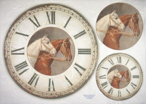 Rice Paper -  Clock, Horses