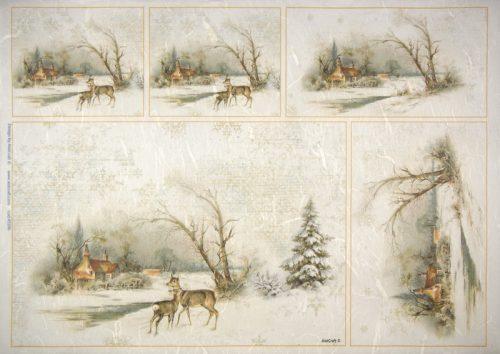 Rice Paper -  Winter Deer in snow