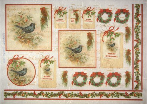Rice Paper -  Merry Christmas Birds