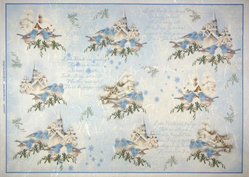 Rice Paper -  Blue Winter, Blue Birds