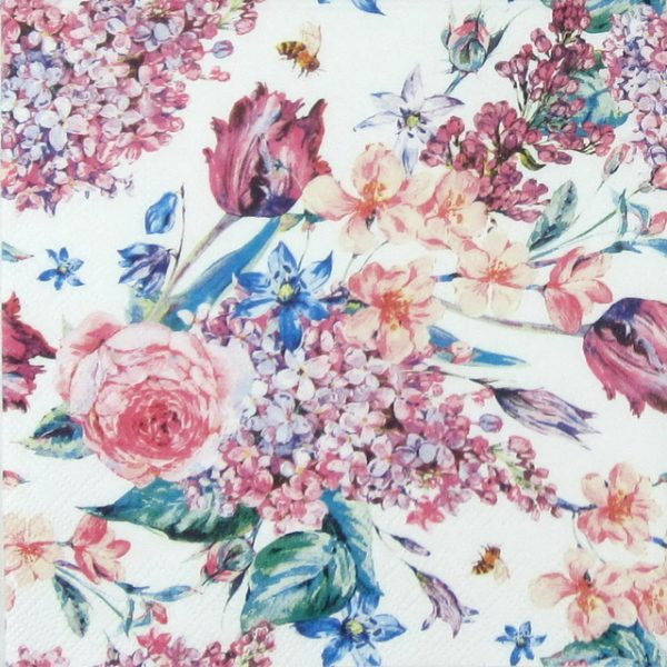 Paper Napkin - Flower Composition White