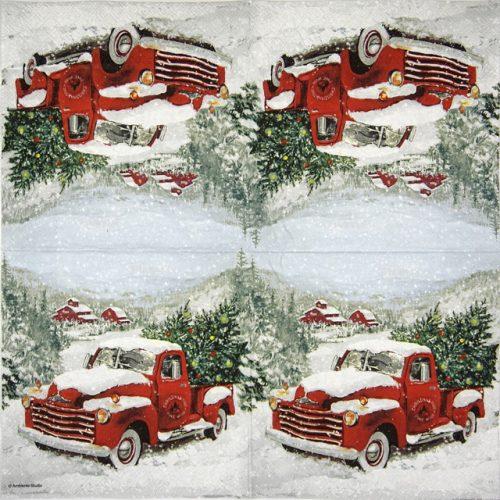 Paper Napkin - Christmas Truck