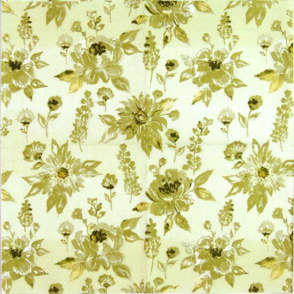 Paper Napkin - Lauren Flower Gold