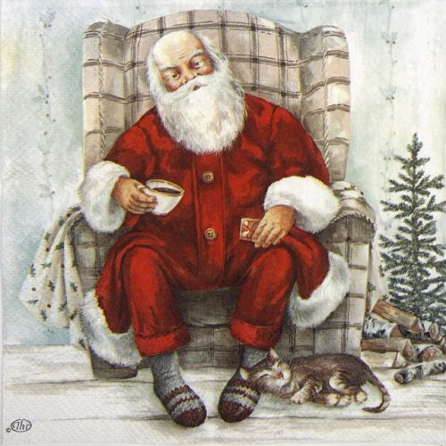 Lunch Napkins (20) - Santa 's Coffee Break