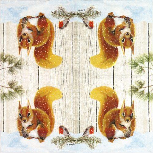Cocktail Napkin - Carola Pabst: Robin & Squirrel