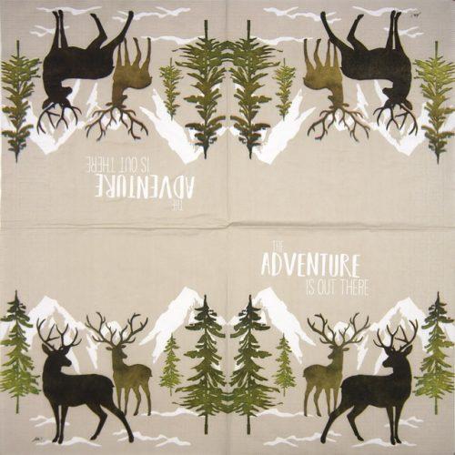 Paper Napkin - Ute Krause: Adventure Deer taupe