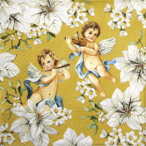 Paper Napkin - Angels in flowers gold