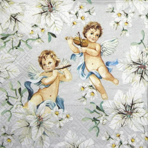 Paper Napkin - Angels in Flowers silver