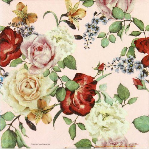 Paper Napkin - Roses, Pink Background