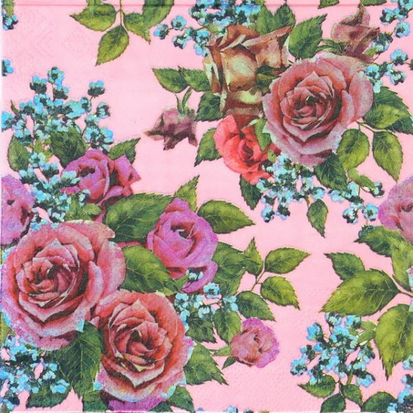 Lunch Napkins (20) - Red Roses on pink background