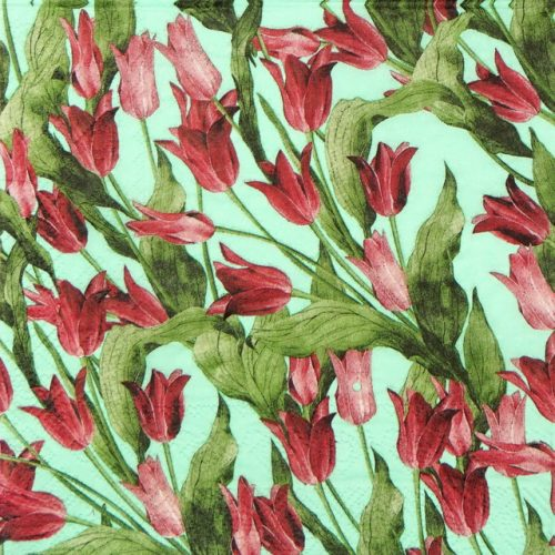 Lunch Napkins (20) - Red Tulip on Green background