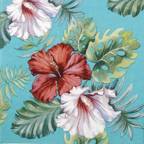 Lunch Napkins (20) - Hibiscus Floral Petrol
