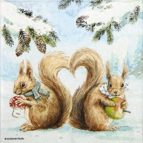 Paper Napkin - Squirrel Love