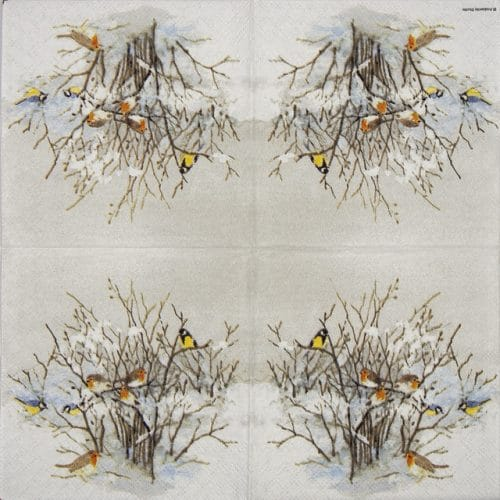 Cocktail Napkin - Birds on Branches