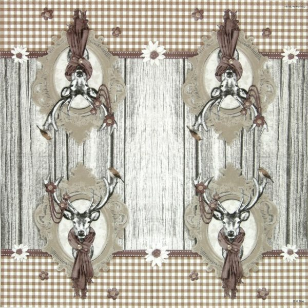 Paper Napkin - Decorated Deer Taupe