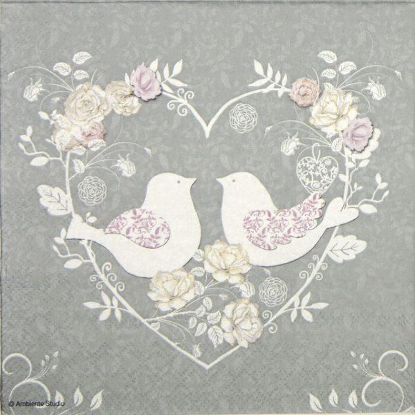 Paper Napkin - Turtle Doves grey