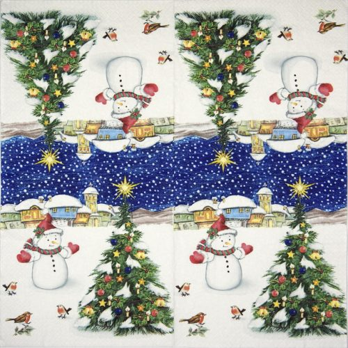 Paper Napkin - Snowman with X-mas Tree