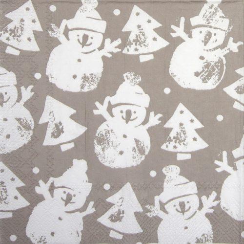 Paper Napkin - Snowman Stamp linen