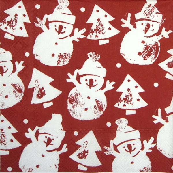 Paper Napkin - Snowman Stamp red