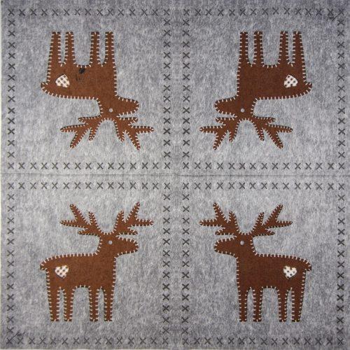 Paper Napkin - Ute Krause: Felt Reindeer grey