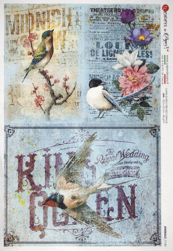 Rice Paper - Birds on Blue