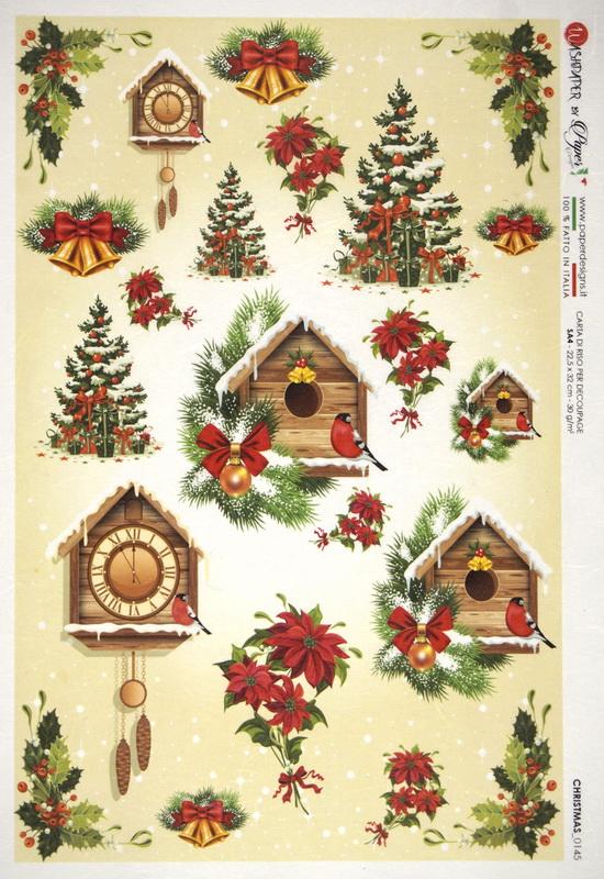Rice Paper - Christmas Birdhouse