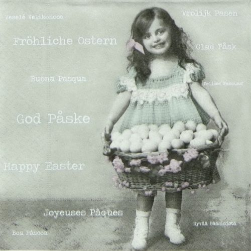 Paper Napkin - Easter Girl with Egg