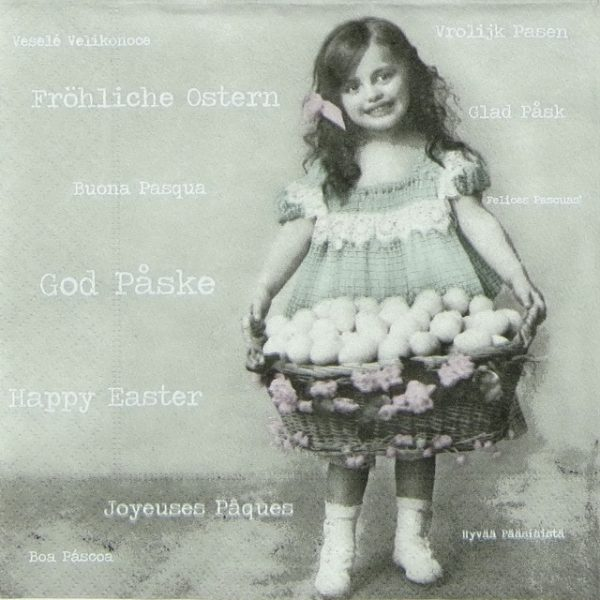 Lunch Napkins (20) - Easter Girl with Egg