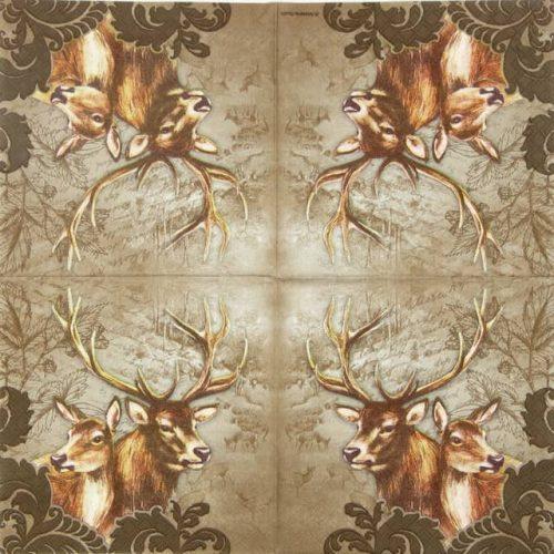 Paper Napkin - Deer Couple Brown