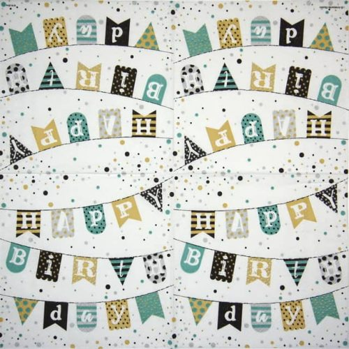 Paper Napkin - Birthday Garland Green