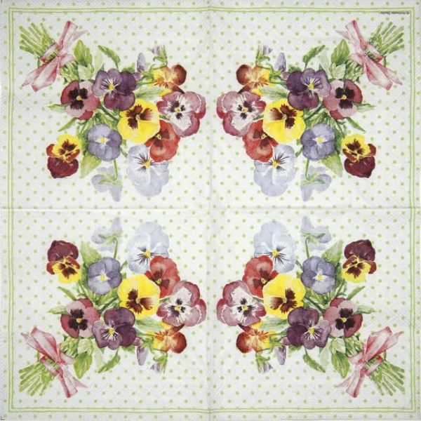 Lunch Napkins (20) - - Bunch of Violets Green