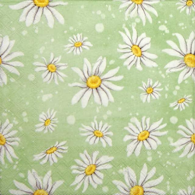 Paper Napkin - Daisies green