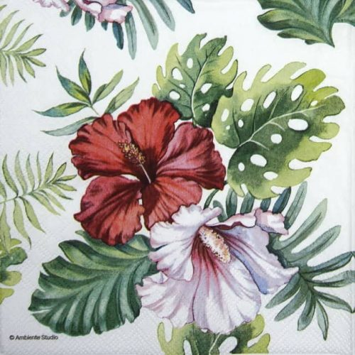 Lunch Napkins (20) - Hibiscus Floral White