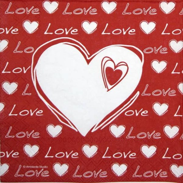 Paper Napkin - Love Heart red