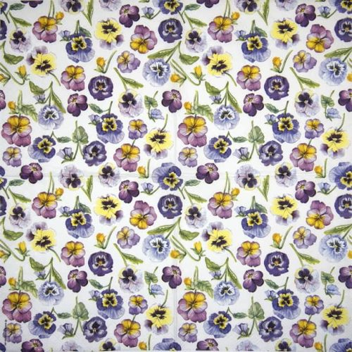 Cocktail Napkins (20) - Pansy All Over