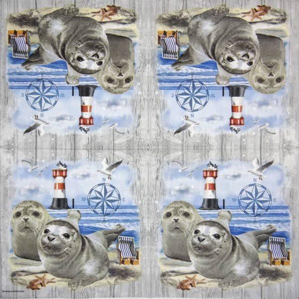 Cocktail Napkins (20) - Seal Couple