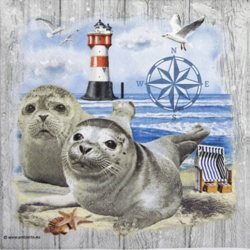Cocktail Napkins (20) - Seal Couple